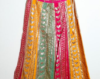 Awesome Vintage Ethnic Colorful Long Wrap Skirt With Gold Trimming and Gold Hearts