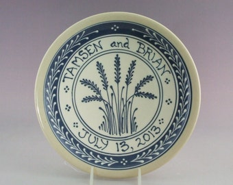 "9"" Wedding Plate or Baby Child Plate Blue Wheat on White background   Made to Order"