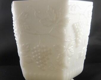 Milk Glass Grape Pattern Planter Fire King Anchor Hocking