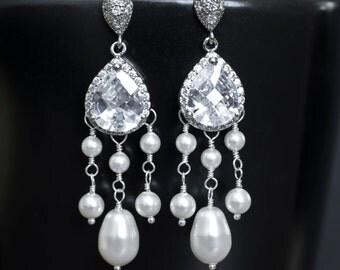 Bridal Earrings, Bridal Chandelier Earrings, Cubic Zirconia and Swarovski Pearls Earrings, Bridal Jewelry, Weddings Jewelry, Dangle Earrings