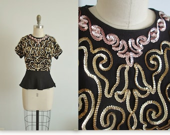 40's Sequin Top // Vintage 1940's Shimmering Sequin Black Rayon Dress Top Blouse S