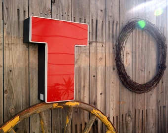 Vintage Marquee Sign Letter Capital 'T': Large Red & White Wall Hanging Initial - Industrial Neon Channel Advertising Salvage