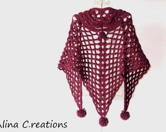 Chunky Crochet shawl in wool yarn with pompom, burgundy colour, made in Italy, free shipping