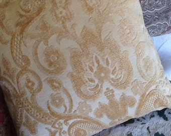 Gold Chenille and Stripe Pillow