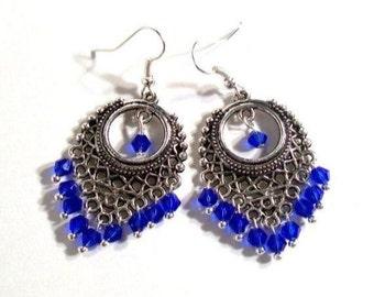 Royal blue chandelier earring | Etsy:Chandelier Earrings, Royal Blue, Swarovski Crystal Earrings, Select Color &  Ear Wire,Lighting