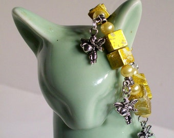 Cupid Charm Bracelet, Lovely Yellow Cupid Charm Bracelet, Cupid Charms, Sizes 5' to 8'