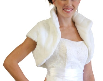 White Faux Fur  Shrug Bridal Bolero Crop Jacket 603NM-WHI on Summer SALE
