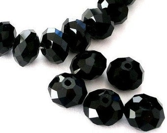 15 jet black 12mm Chinese crystal beads, 12mm x 8mm black rondelle beads