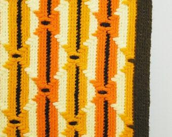 Vintage Striped Crocheted Blanket / Throw