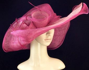 Hot Pink Fuchsia Kentucky Derby Hat ,Derby Hat,Dress Hat Wedding Hat Wide Brim Hat Tea Party Hat Ascot