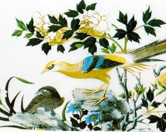 Art Litho, chinoiserie , Bird, Spain Seal Depisito, Legal B 32,864. 1974 Arte Chine Palacio Real de Aranyiex, Espana,