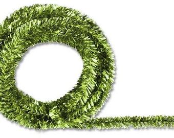 Lime Green Metallic Tinsel Roping XG447837, Mesh Supplies, Poly Mesh Supplies, Mesh Ribbon (25 FEET)
