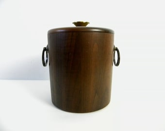 Vintage 1960s Walnut Wood and Brass Ice Bucket