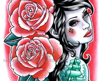 Down With the Ship Lowbrow Pin Up Girl With Tattoos and Roses Anchor Tattooed Pinup Signed Art Print by Carissa Rose 5x7, 8x10, or 11x14