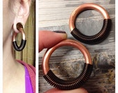 "Coil Closure Copper Hoops - 1.5"" Diameter - Earrings for Stretched Lobes - Gauges"