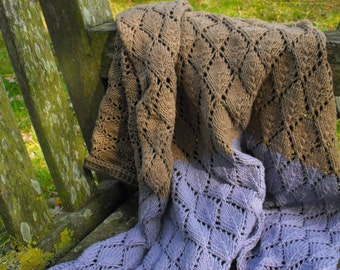 Blanket - lavender and brown blanket made of cotton yarn, hand knitted