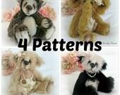 4 Pattern Pack Instant Download - Bear, Elephant, Panda and Hedgehog - Value Pack