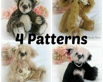 4 Pattern Pack Instant Download - Bear, Elephant, Panda and Hedgehog - Value Pack