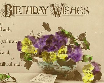 Loving Birthday Wishes Vintage Birthday Postcard Pansies For Thoughts Embossed Border