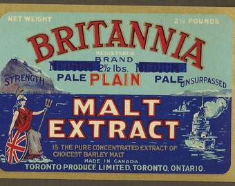 Vintage Can Label BRITANNIA Plain Malt Extract Toronto Produce Limited 2 and a half lb Can ~ Great Frameable Kitchen Bar Art