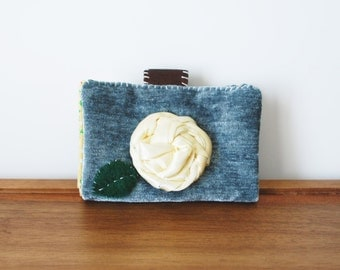CLEARANCE--Dusty Blue Velvet Cloth Business Card or Credit Card Holder with Yellow Rosette