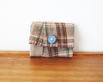 Brown and Tan Plaid Trifold Business Card or Credit Card Holder with Flower Button