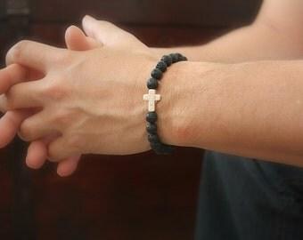 Men's White Cross Bracelet, Black Lava Bracelet, Christian Gifts, Sideways Cross, Stretch Bracelet, Bohemian Jewelry, Gift For Men