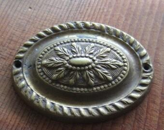 Vintage Solid Cast Brass Flower Medallion - Embellishment