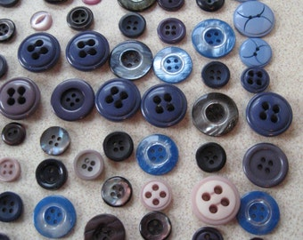 Vintage Button Collection of over 200 Blue Purple Black Gray Sew Through Buttons