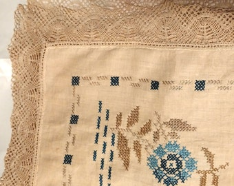 Lovely Embroidered Tablecloth 39x39 with Bobbin Lace Edging (VI136)