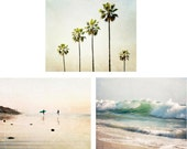 Beach Photography Set, Beach Gallery Wall, California Beach Photography Set, Palm Trees, Surf Decor, Wave Photography, Ocean, Beach House