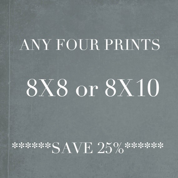 Save 25%, Any Four 8x8 or 8x10 Photographs, Discounted Wall Art, Photography Prints, Beach House Decor, Print Set