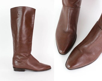 Brown Leather Knee High Boots 7.5   Vintage Supple Leather Boots