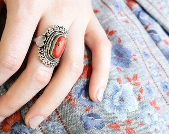 Sterling Silver Coral Ring | Engraved Heart Ring with Chunky Stone