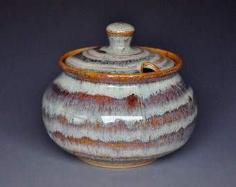 Pottery Sugar Bowl Small Ceramic Stoneware Jar B