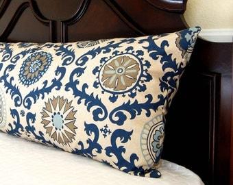Body Pillow Cover, Navy Blue Pillow, Bolster Pillow Cover, Indigo Blue Pillow Cover,  20 x 54 Decorative Throw Pillow Cover, Body Pillowcase