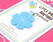 BUY 4 GET 1 FREE- Baby Toddler Hair Clip/Bow Light Baby Blue Felt Flower