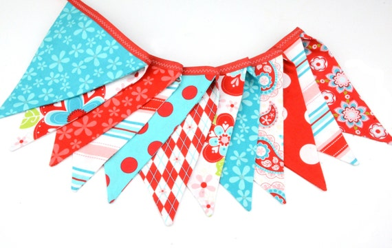 READY TO SHIP!  Reusable Fabric Bunting, Banner, Pennant, Flag, Garland, Photo Prop, Decoration in  Sugar Spice Red White Turquoise