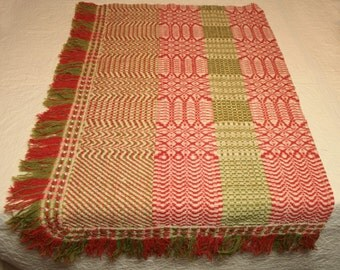 Lovely 19th Century Brick Red, Moss Green and Ecru Linsey Woolsey Overshot Antique Coverlet Piece with Handwoven Fringe - 35 x 21  Inches