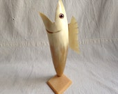 Vintage horn shell and celluloid fish vase  ooak vase