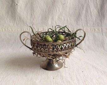 Vintage silverplate sugar bowl frame Easter nest