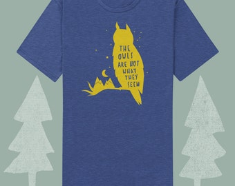 the owls are not what they seem mens heather blue slim fit tee shirt