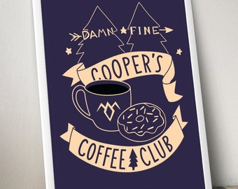 cooper's coffee club poster 18 X 24 and 12 X 16 sizes