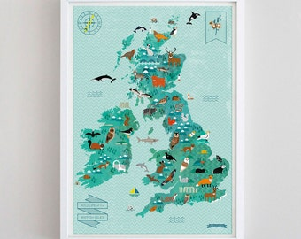 A2 Wildlife of the British Isles Map