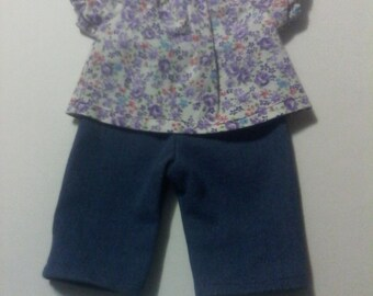 "Baby Alive  And Waldorf Doll Clothes Peasant Top and Jeans 10"" 12"" Or 15"""