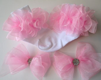 Light Pink Sheer Organza Ruffled Ribbon Socks and Two Matching Hair Bows w/Rhinestones