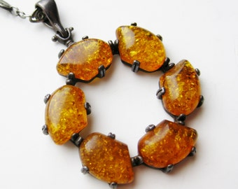 Vintage Baltic Amber Sterling Silver Large Pendant Necklace
