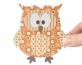 50% Off - Owl Printable Paper Craft, Orange Owl Embellishment, Owl Decoration, Owl Paper Piecing, Orange Woodland Owl, Owl Party Decor