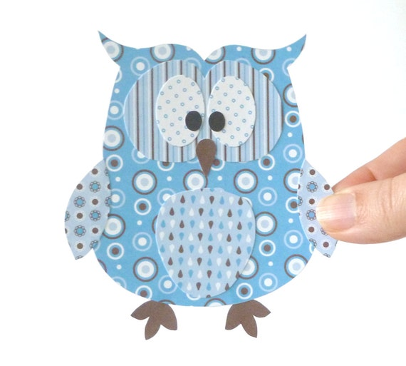 Paper Owl Printable - Blue Layered Papercraft Embellishment