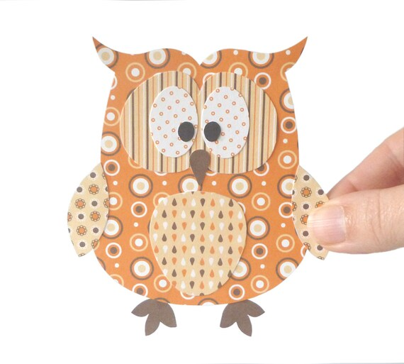 Owl Printable Paper Craft Orange Owl Embellishment Owl